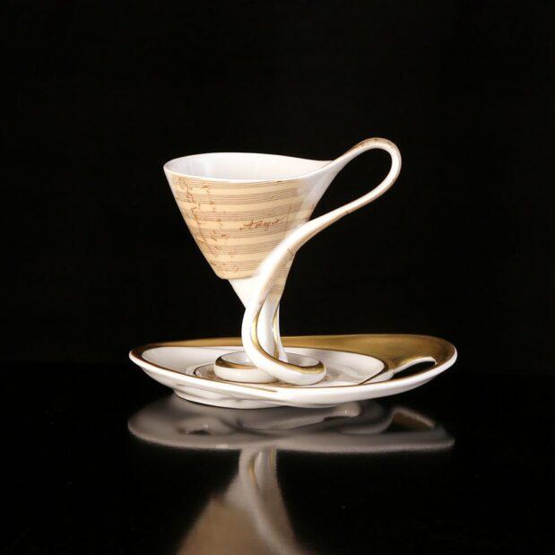 Antonin Dvorak Porcelain Coffee Set Cup Saucer Limited Edition Crystallo by Thun Studio 8