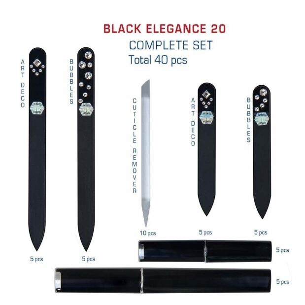 BLACK ELEGANCE 20 Complete Set Crystal Nail File by Blazek detail