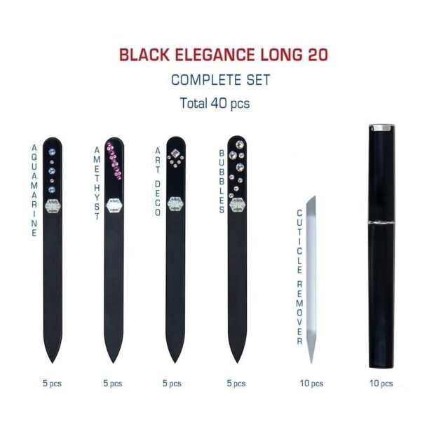 BLACK ELEGANCE Long 20 Complete Set Crystal Nail File by Blazek detail