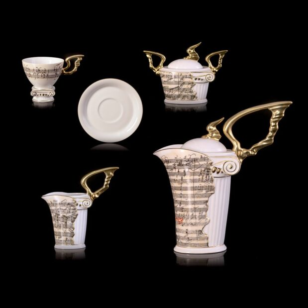 Beethoven Porcelain Coffee Set Limited Edition Crystallo by Thun Studio montage