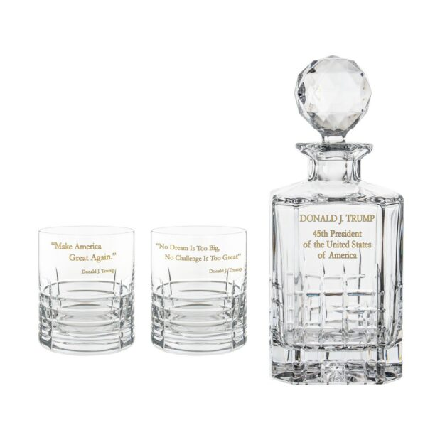 Donald Trump Presidency Decanter Whiskey Glasses Gilded Set 3pcs Crystallo