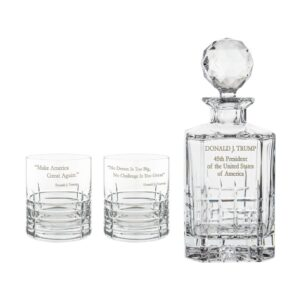 Donald Trump Presidency Decanter Whiskey Glasses Set 3pcs Crystallo