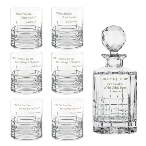 Donald Trump Presidency Decanter Whiskey Glasses Set 7pcs Crystallo