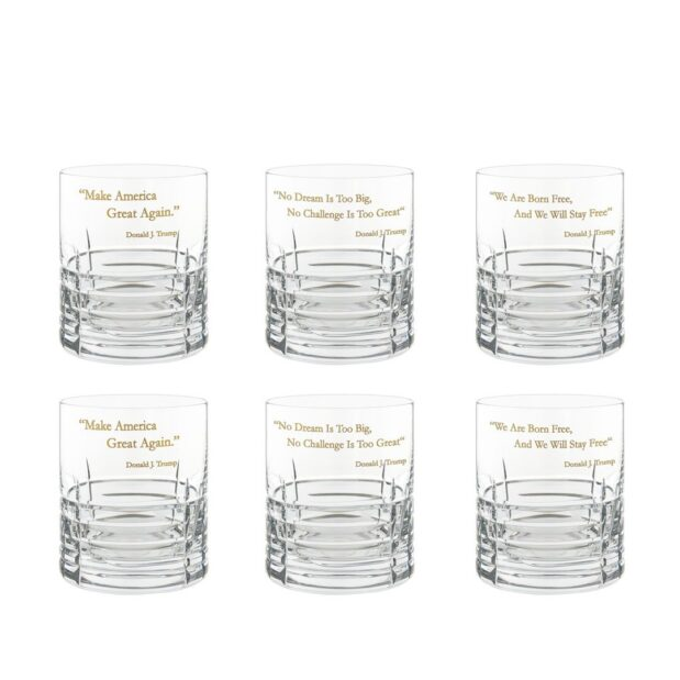 Donald Trump Presidency Whiskey Glasses Gilded Set 6pcs Crystallo