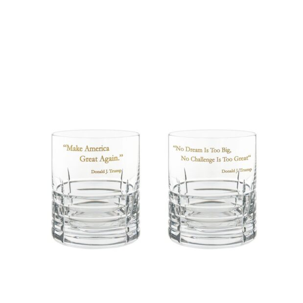 Donald Trump Presidency Whiskey Glasses Gilded Set Pair Crystallo