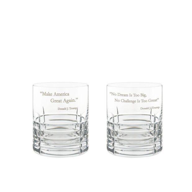 Donald Trump Presidency Whiskey Glasses Set Pair Crystallo