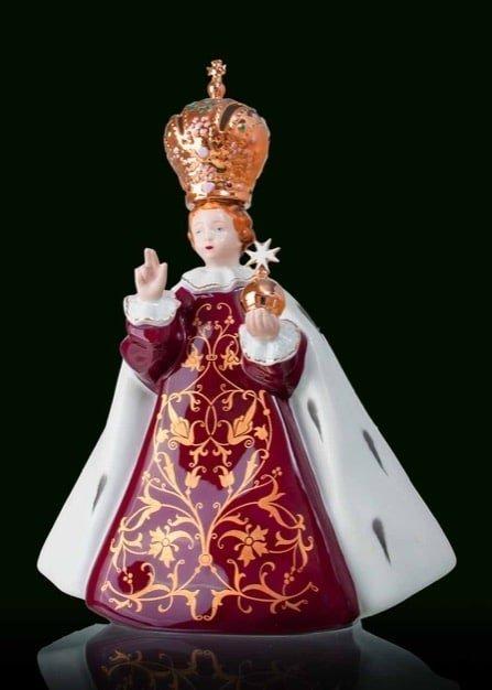 Infant Jesus Prague porcelain statue middle purpur crystallo