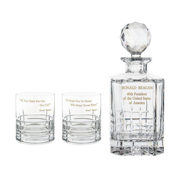 Ronald Reagan Presidency Decanter Whiskey Glasses Gilded Set 3pcs Crystallo