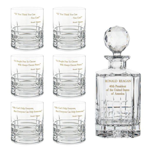 Ronald Reagan Presidency Decanter Whiskey Glasses Gilded Set 7pcs Crystallo