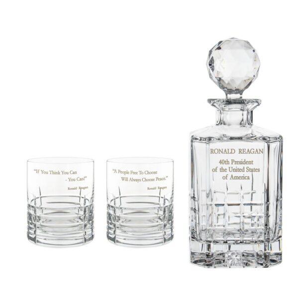 Ronald Reagan Presidency Decanter Whiskey Glasses Set 3pcs Crystallo