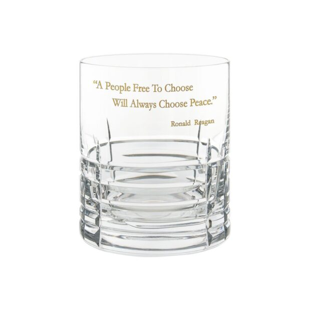 Ronald Reagan Presidency Whiskey Glass PEACE Gilded Crystallo