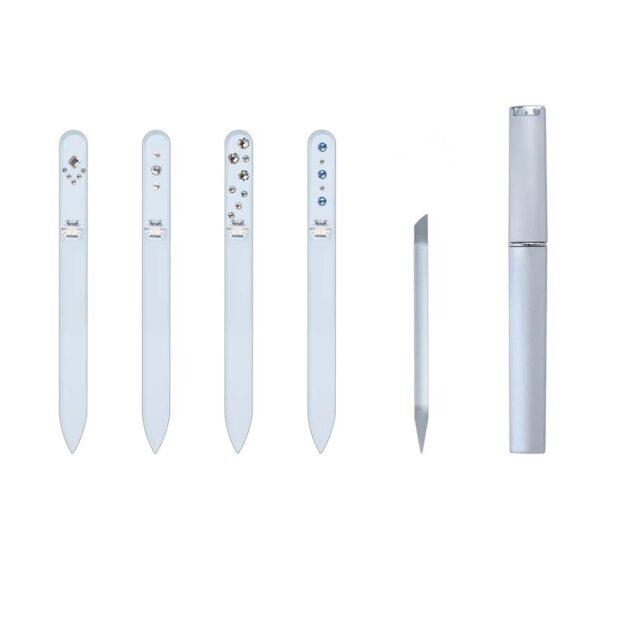 SILVER ELEGANCE Long 20 Complete Set Crystal Nail File by Blazek