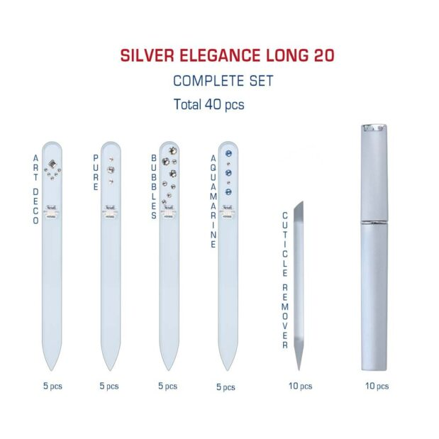 SILVER ELEGANCE Long 20 Complete Set Crystal Nail File by Blazek detail