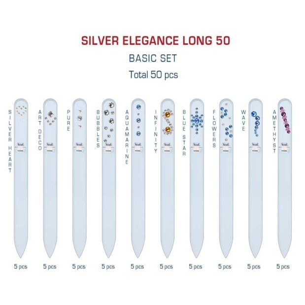 SILVER ELEGANCE Long 50 Set Crystal Nail File by Blazek detail