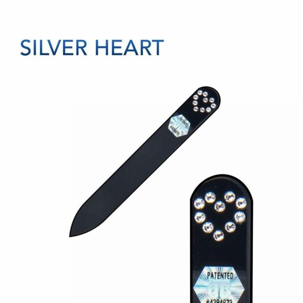 SILVER HEART Crystal Nail File Black Short by Blazek title