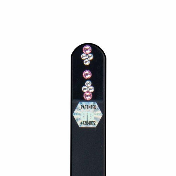 SILVER PINK Crystal Nail File Black Short by Blazek detail