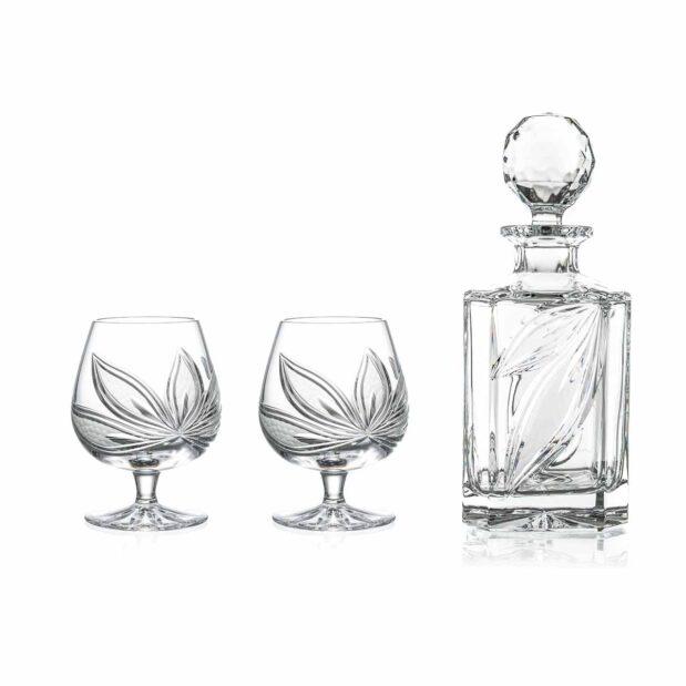 brandy decanter set crystal square decanter brandy glasses orchidea floral Crystallo BG906OR
