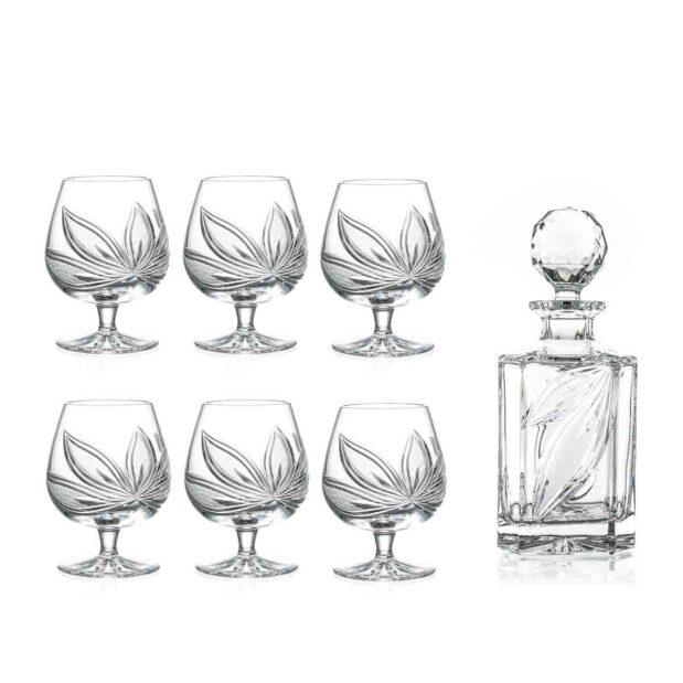 brandy decanter set crystal square decanter brandy glasses orchidea floral Crystallo BG906OR 7
