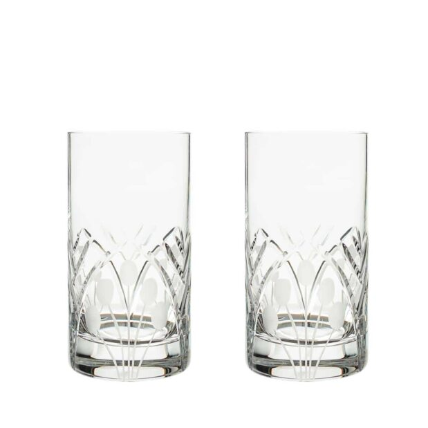 crystal highball glass nostalgia art deco Crystallo BG302NS 2