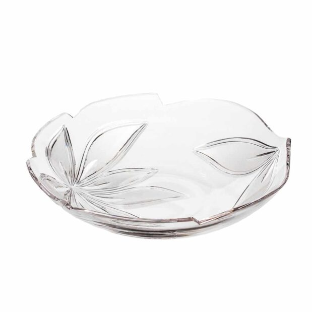 crystal large flat bowl orchidea floral Crystallo BG211OR B
