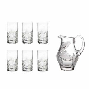 home made lemonade set crystal elegant pitcher highball glasses orchidea floral Crystallo BG907OR 7