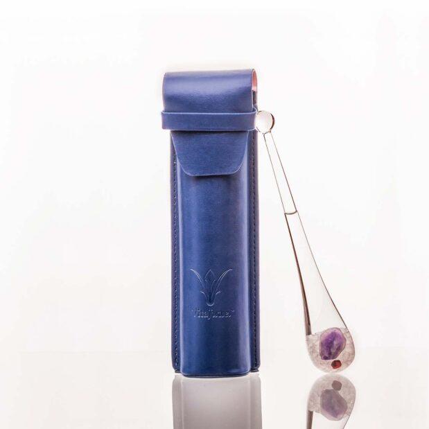 phiolino leather case blue crystallo vitajuwel