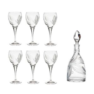 wine decanter set crystal decanter wine glasses orchidea floral Crystallo BG903OR 7