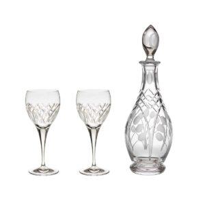 wine decanter set crystal rounded decanter wine glasses nostalgia art deco Crystallo BG903NS